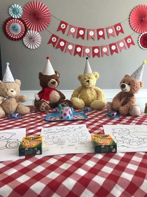Teddy Bear Picnic Party Coloring Station