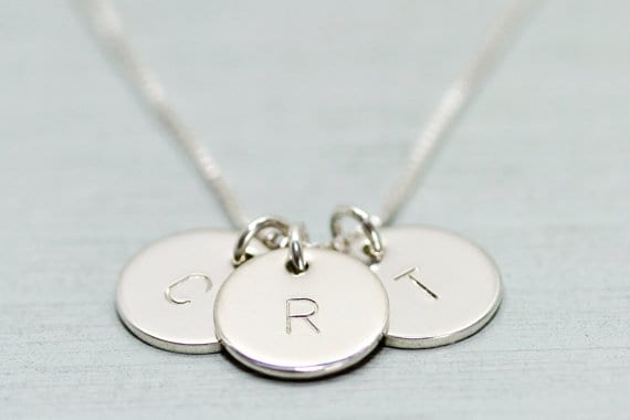 This minimalist necklace features your choice of 1-3 petite but thick sterling silver discs hand st&ed with initials and suspended from sterling silver ... & Push Present Ideas u0026 Rules u2013 The Ultimate Guide 2019
