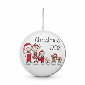 Santa Family Ceramic Christmas Ornament