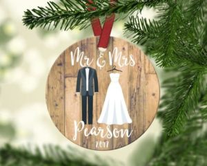 rustic first year of marriage ornament