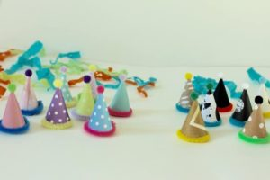Mini Party Hats with pom poms