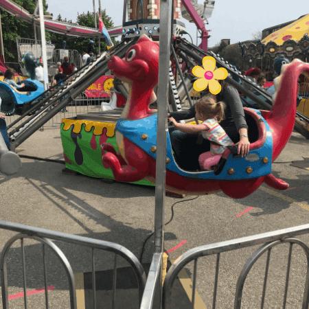 family on a fair ride