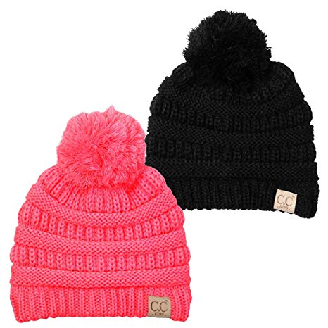 Baby Toddler Cable Knit Pom Winter Hat Beanie