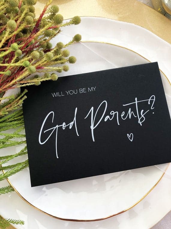 Black and White, Will You Be My God Parents Proposal Card