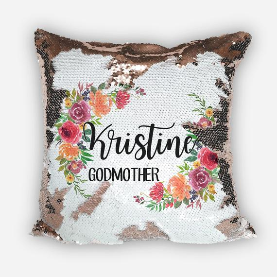 Godmother Personalized Reversible Sequin Pillow