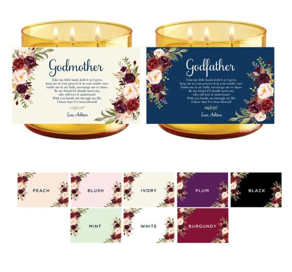 Custom Godparent Proposal Candle Labels