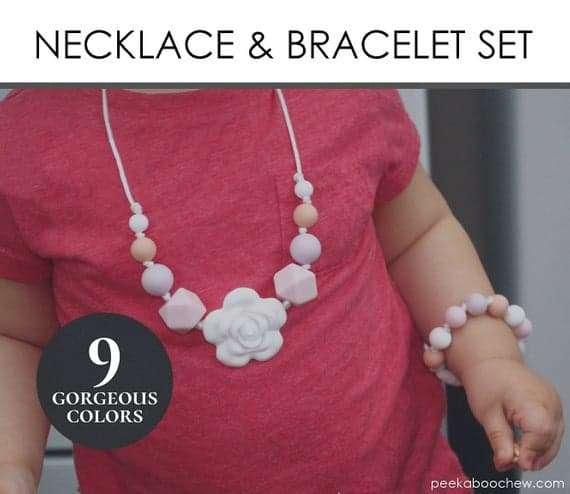 Toddler Silicone Teething Necklace Bracelet Gift Set