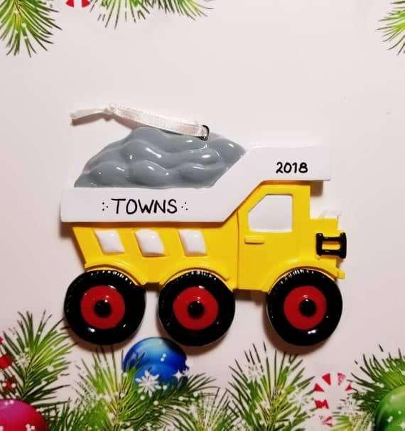 Personalized Construction Dump Truck Christmas Ornament