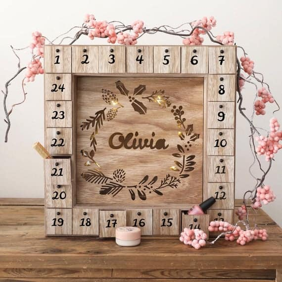Personalised Fill Your Own Wooden Wreath Advent Calendar Light Box