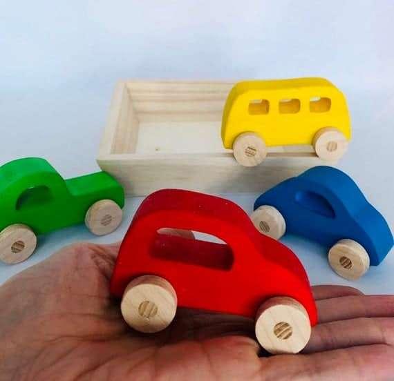 Set of Mini Wooden Cars