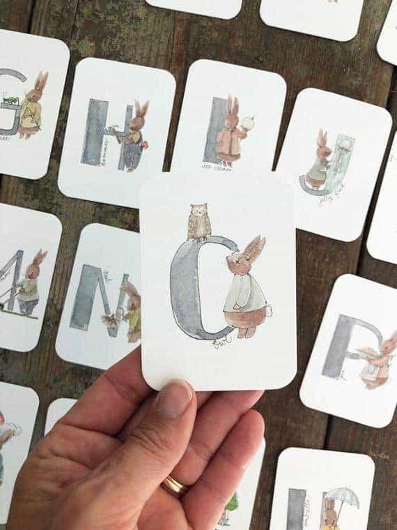 Watercolor Bunny ABC Flashcards
