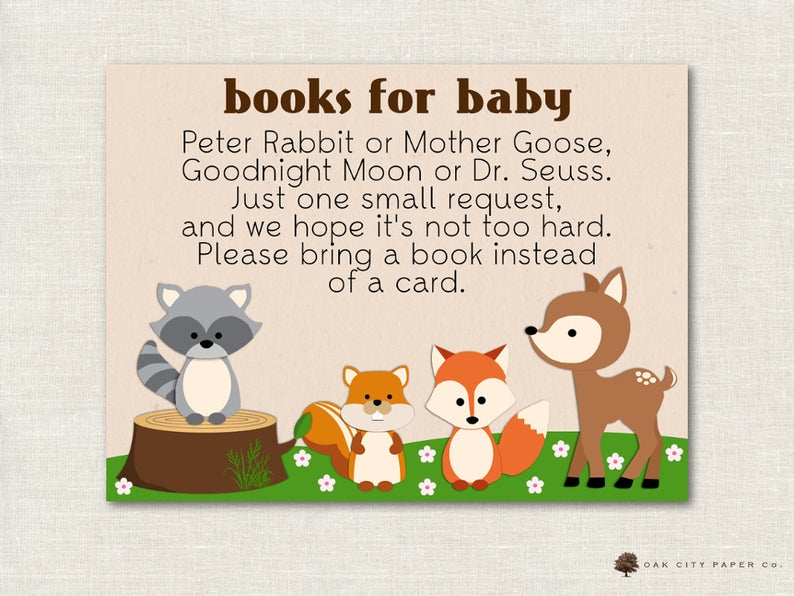 baby shower books instead of cards invitation insert