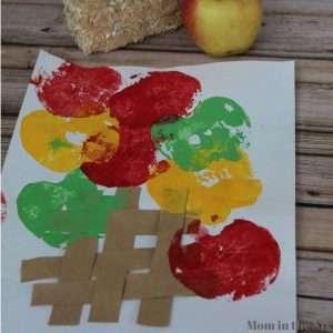 apple stamping basket craft activity