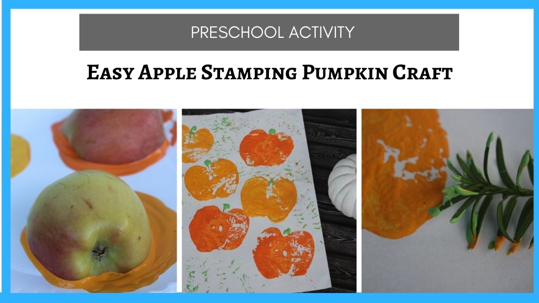 Easy Apple Stamping Pumpkin Craft (for preschoolers and above)
